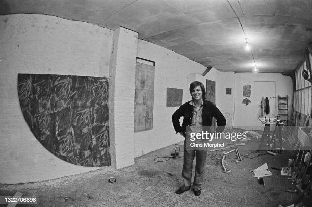 British painter Stephen Buckley, wide angle studio interior view with, front left, 'Agamemnon' work in progress, Fitzroy Road, NW1, London, winter...