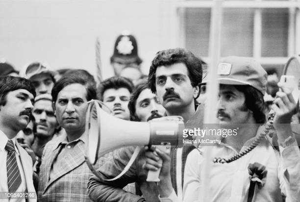 British Pakistani writer, journalist, historian, filmmaker, political activist, and public intellectual Tariq Ali at a demonstration, London, UK,...