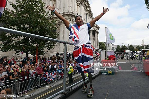 British Paralympic discus thrower Derek Derenalagi during the London 2012 Victory Parade for Team GB and Paralympic GB athletes on September 10 2012...