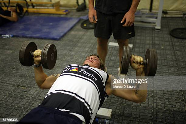 British paratrooper from 3rd Battalion The Parachute Regiment is seen as he exercises at the gym during his downtime on June 27 2008 at his base at...