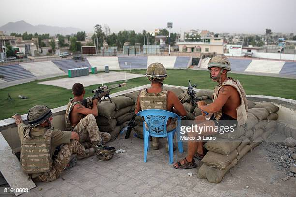 British paratrooper from 3rd Battalion The Parachute Regiment secure the Kandahar football stadium following a treat for suicide bombers attacks on...