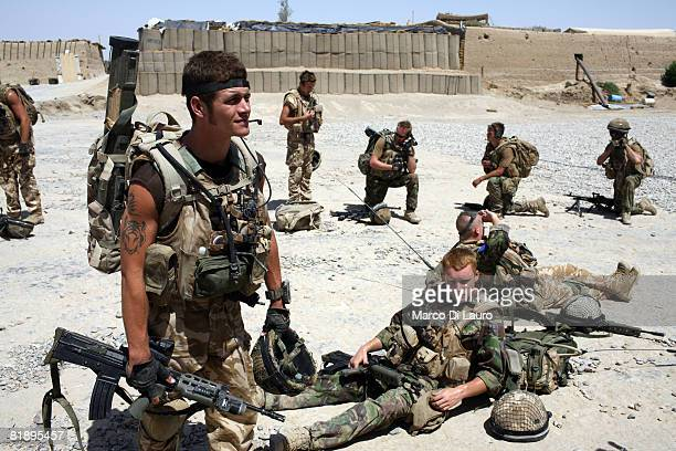 British Paratrooper from the 2nd Battalion The Parachute Regiment get ready to go on patrol on July 9 2008 in Gibraltar FOB in Upper Gereshk...