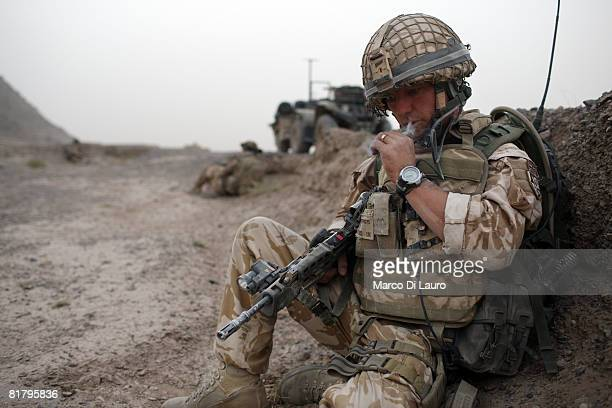 British Paratrooper from the 3rd Battalion The Parachute Regiment CSM Steve Tidmarsh from Halifax takes part in a an operation to search three...