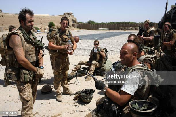 British Paratroopers from the 2nd Battalion The Parachute Regiment get ready to go on patrol on July 9 2008 in Gibraltar FOB in Upper Gereshk...