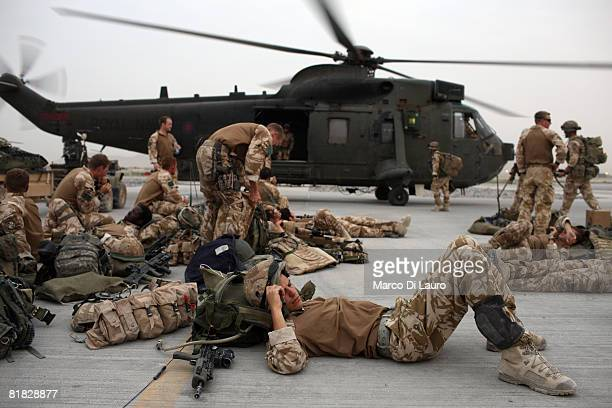 British Paratroopers from the 3rd Battalion The Parachute Regiment wait at their base at the Kandahar Air Field to board Chinook Helicopters to be...