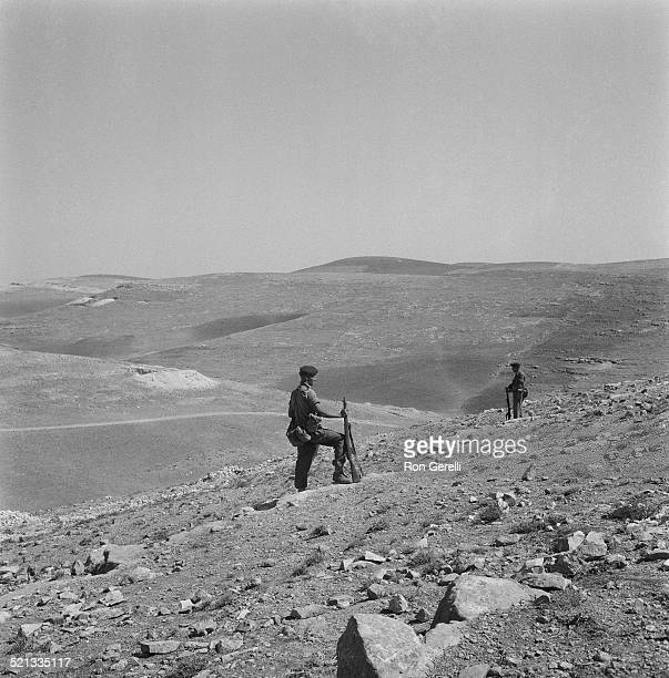 British paratroopers on a hill overlooking Amman airport Jordan 24th July 1958