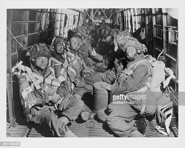 British paratroops of the 6th Airborne Division aboard an aircraft en route to their drop site during the DDay Invasion of Normandy World War II June...