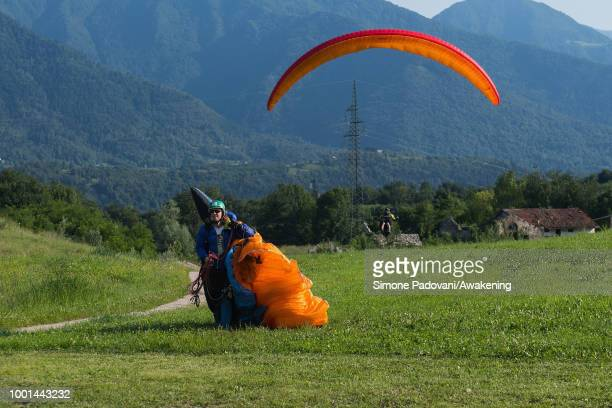 British participant lands at the landing area Boscherai after the training on July 18 2018 in Feltre Italy Richard Butterworth starts training with...