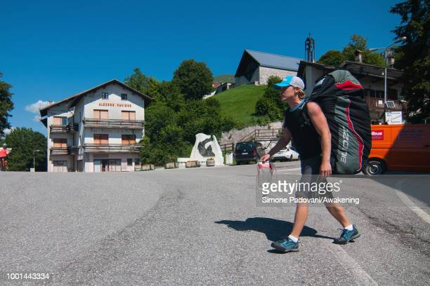 British participant leaves Hotel Croce D'Auna to go to the takeoff area at Monte Avena before the training on July 18 2018 in Feltre Italy Richard...