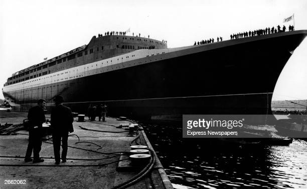 British passenger liner The Queen Elizabeth II afloat at Clydebank after she had been launched by Queen Elizabeth II The QE2 was built at the Upper...