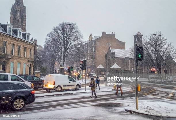British pedestrians braving the snow
