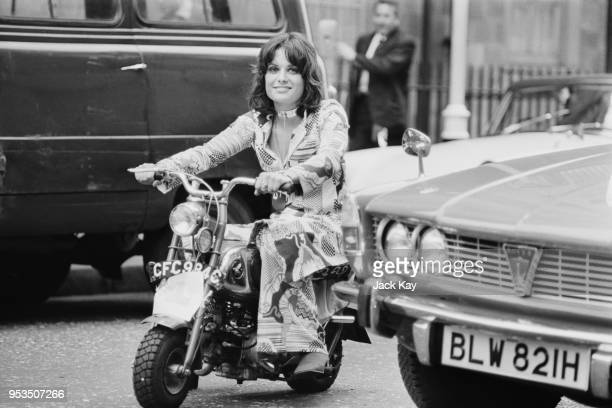 British peer Emma Chetwode riding a 50cc Honda Monkey motorcycle on her way to work Soho London UK 25th June 1970