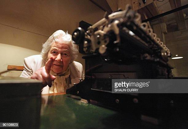 British pensioner Myra Collyer a former government shorthand typist poses for photographs during a photocall for the exhibition 'UndercoverLife in...