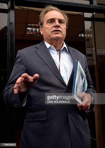 British Peter Madden lawyer of Irish Michaella McCollum who was arrested at Lima's airport carrying cocaine in her luggage is surrounded by the press...