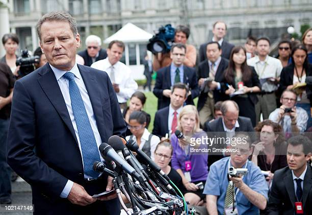 British Petroleum Chairman CarlHenric Svanberg speaks to the press outside the West Wing of the White House June 16 2010 in Washington DC British...