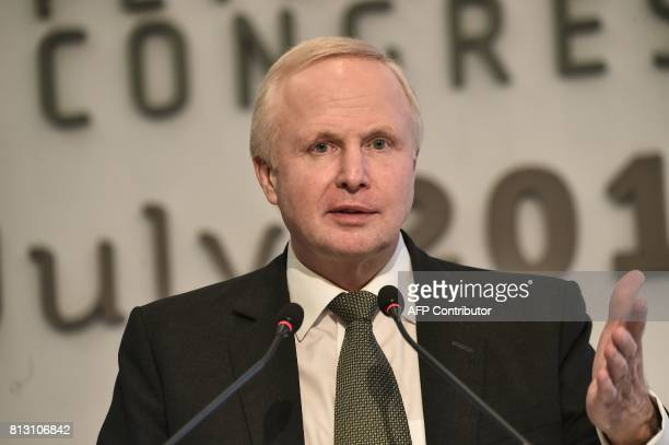 British Petroleum Chief Executive Bob Dudley addresses The 22nd World Petroleum Congress in Istanbul on July 12 2017 Global energy companies are...