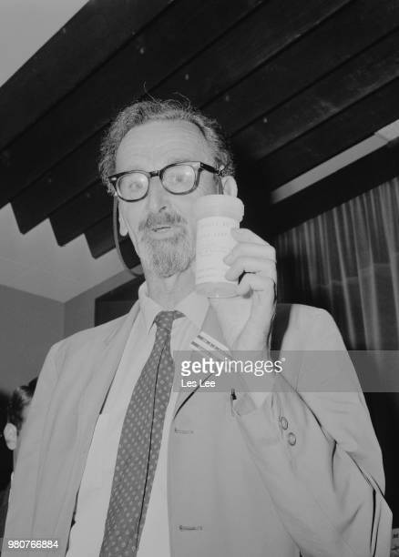 British petrologist and optical mineralogist Stuart Olof Agrell with moon dust sample at the Museum of Mineralogy of Cambridge University UK 20th...