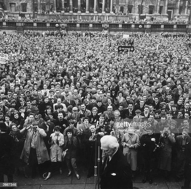 British philosopher and Nobel Laureate Bertrand Russell 3rd Earl Russell addresses a CND rally at Trafalgar Square in London