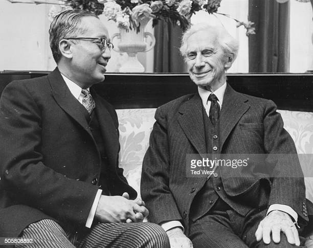 British philosopher and social activist Lord Bertrand Russell, supporter of the Committee of 100 anti-nuclear weapons group, talking to U Thant,...