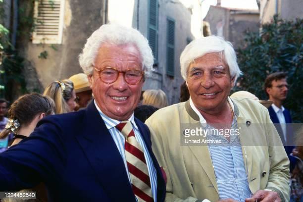 British photographer and movie director David Hamilton with Gunter Sachs at Saint Tropez France 1999