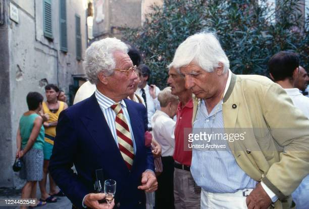 British photographer and movie director David Hamilton with Gunter Sachs at Saint Tropez France 1999