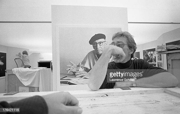 British photographer Antony ArmstrongJones 1st Earl of Snowdon arranges an exhibition of his work entitled 'Assignments' Des Moines Iowa 1974