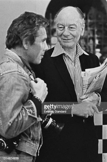 British photographer Antony Armstrong-Jones, Lord Snowdon and English actor John Gielgud on the set of the Agatha Christie film 'Murder on the Orient...