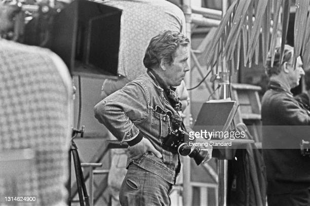 British photographer Antony Armstrong-Jones, Lord Snowdon takes photographs on the set of the Agatha Christie film 'Murder on the Orient Express',...