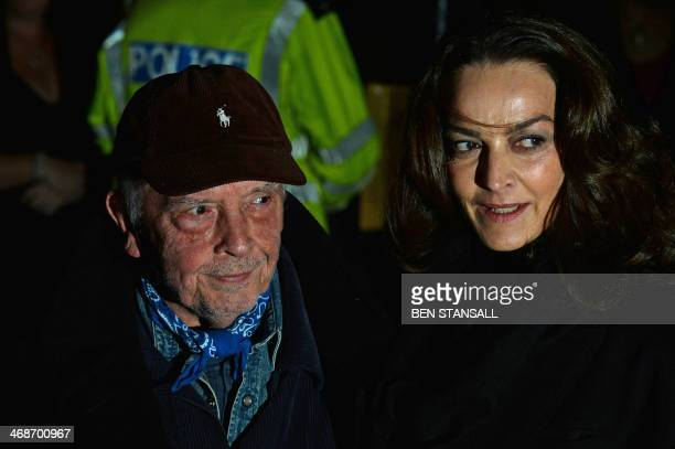 British photographer David Bailey arrives with his wife model Catherine Dyer for The Portrait Gala 2014 at the National Portrait Gallery in central...
