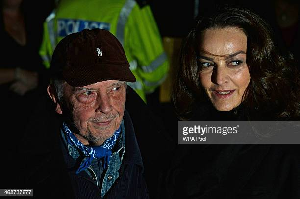 British photographer David Bailey arrives with his wife model Catherine Dyer attend The Portrait Gala 2014 Collecting To Inspire at National Portrait...