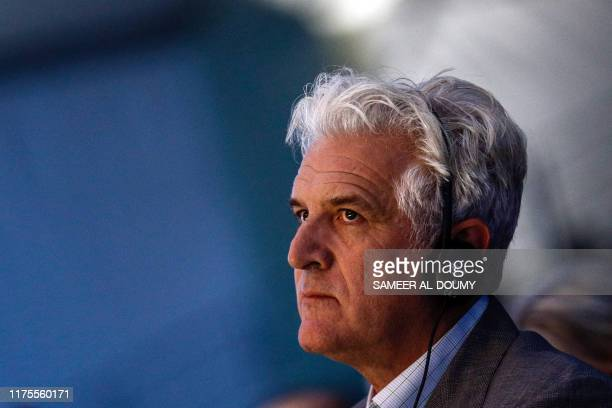 British photographer Gary Knight, the president of the jury attends the closing ceremony of the 2019 Bayeux-Calvados Awards for war correspondents in...