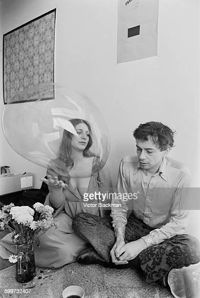 British photographer, journalist and politicial activist John 'Hoppy' Hopkins with his partner Suzy Zeiger, aka Suzy Creamcheese, after his release...