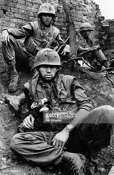 British photojournalist Don McCullin in the walled city of Hue South Vietnam during the Tet Offensive when US Marines were attempting to retake the...
