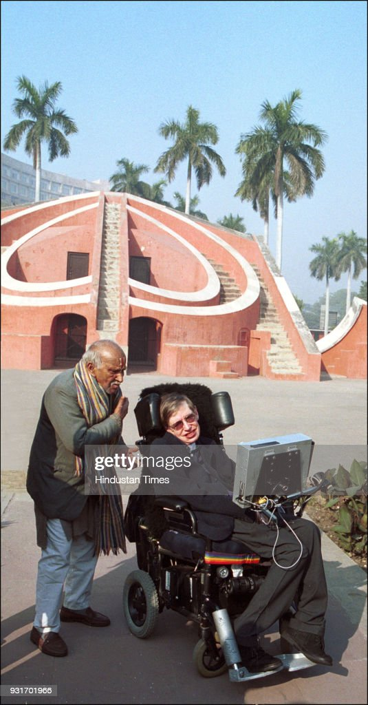British physicist and award-winning author Stephen Hawking during a sightseeing tour at Jantar Mantar, on January 15, 2001, in New Delhi. Hawking died, aged 76, at his residence in Cambridge on Wednesday. His 1962 book A Brief History of Time became an international bestseller, making him one of sciences biggest celebrities since Albert Einstein, whose 129th birth anniversary also falls on Wednesday.