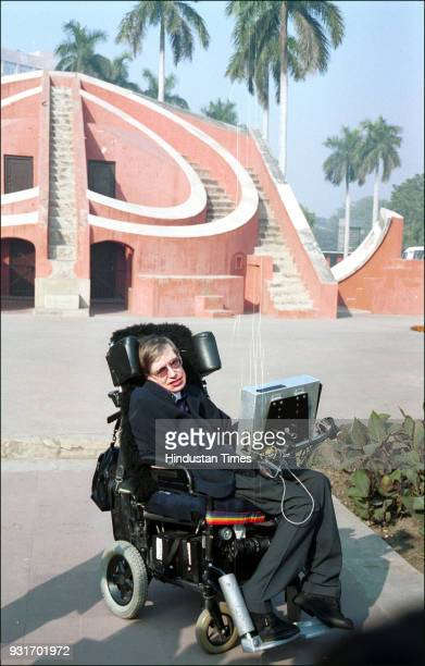 British physicist and awardwinning author Stephen Hawking during a sightseeing tour at Jantar Mantar on January 15 in New Delhi Hawking died aged 76...