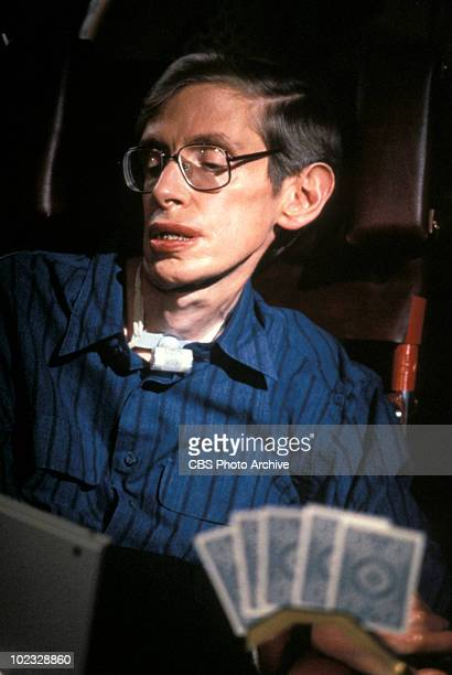 British physicist Stephen Hawking appears as himself in a scene from an episode of the television series 'Star Trek The Next Generation' entitled...