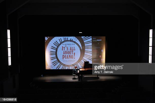 British pianist Imogen Cooper rehearses before a performance of an all Schubert program at a Steinway grand piano on stage in Cine Lumiere during...