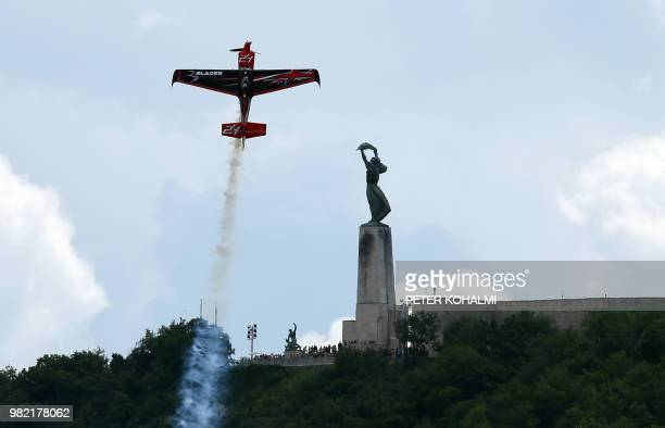 British pilot Ben Murphy manoeuvres his plane at the 2018 Red Bull Air Race World Championship on June 23, 2018 in the Hungarian capital Budapest.
