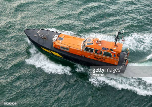 british pilot boat moving at speed - isle of wight stock pictures, royalty-free photos & images