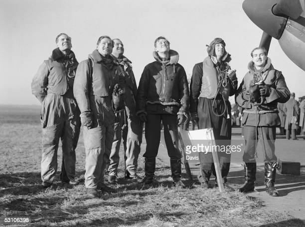 British pilots wait to take off from an RAF fighter command station in England during the Battle of Britain World War II 12th January 1940