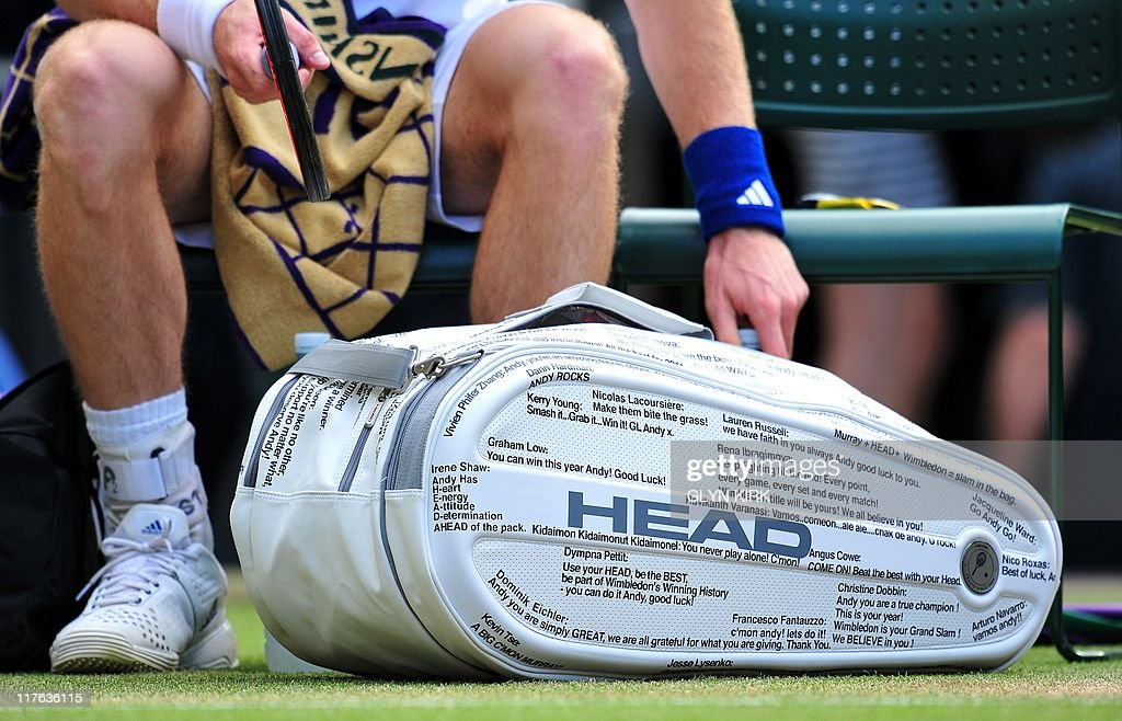 British player Andy Murray's bag with tw : News Photo