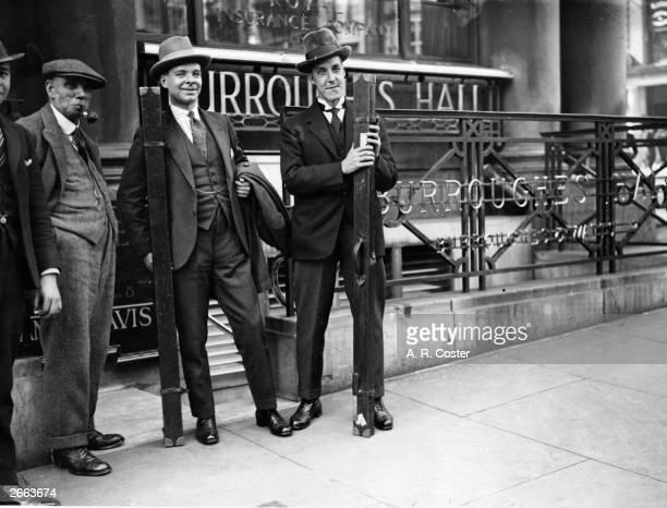 British player World Snooker and World Billiards champion Joe Davis and T Newcoman outside Burrough's Hall at the start of the new billiard season.