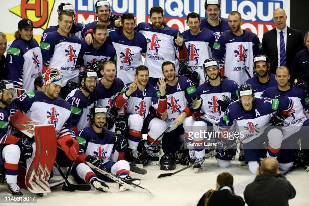 British players celebrate the victory after the 2019 IIHF Ice Hockey World Championship Slovakia group A game between France and Great Britain at...