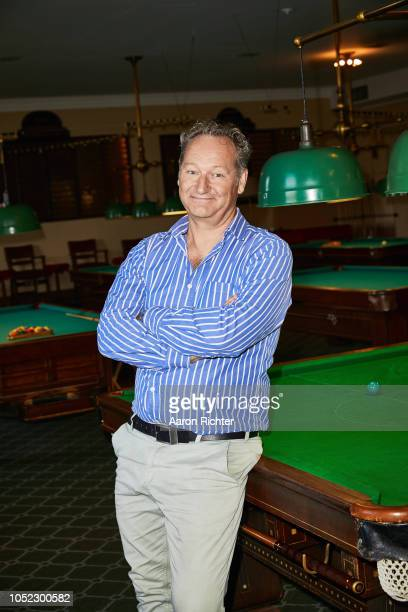 British playwright Richard Bean is photographed for New York Times on August 2 2018 at the New York Athletic Clubs billiards room in New York City