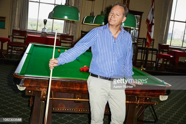 British playwright Richard Bean is photographed for New York Times on August 2 2018 at the New York Athletic Clubs billiards room in New York City...
