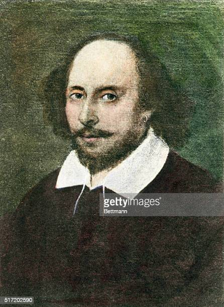 British playwright/author William Shakespeare is depicted in a color painting wearing traditinal Elizabethan garb including a high neck and collar...