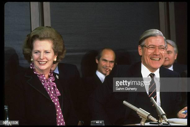 British PM Margaret Thatcher w German Chancellor Helmut Schmidt at press conf