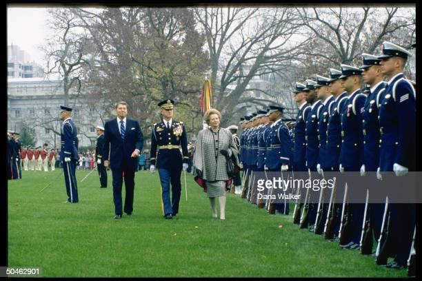 British PM Thatcher Pres Reagan reviewing troops