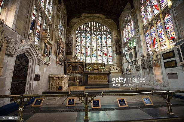 British poet and playwright William Shakespeare's grave and those of other members of his family are pictured in The Holy Trinity Church in...