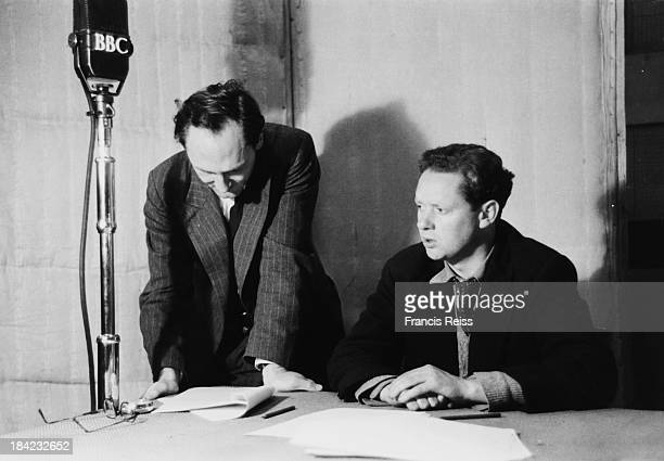 British poet and writer Dylan Thomas and British poet Patric Dickinson in a BBC recording studio August 1946 Original Publication Picture Post 4156 A...